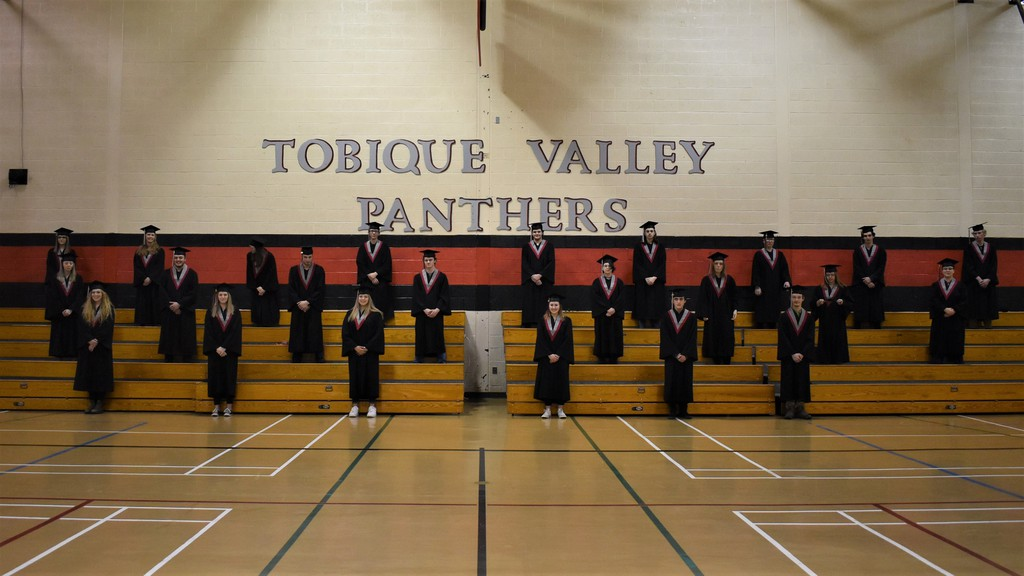 Crimson gowns have been replaced by new black gowns with crimson and grey stoles at Tobique Valley High School in Plaster Rock. Grade 12 students thought it was time for a new look and received support from the World Pond Hockey Championship community lottery fund in attaining their goal.