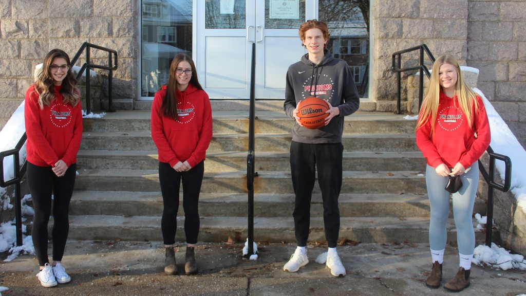 From left, Olivia Kenny, Sierra Spragg, Shamus Cormier and Cassidy MacDonald are Grade 12 students at Bathurst High School who compete on the Phantoms varsity basketball squads. Cormier will be joining the STU Tommies next season.