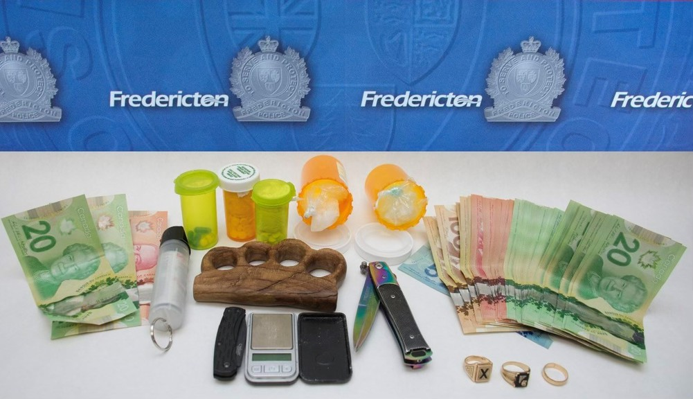 Members of the Fredericton Police Force's drug and organized crime team seized these items from a 43-year-old man arrested on the city's north side Tuesday, according to the department.