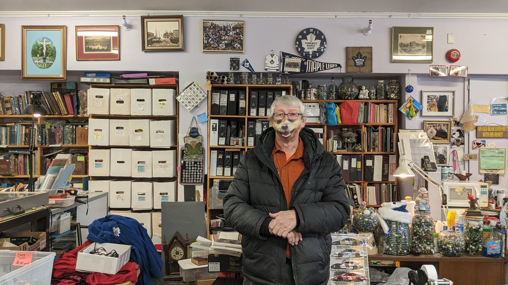 Ross Harris, owner of Loyalist City Coins, Books, and Collectibles. Harris said he's careful about how many people he lets into his store at one time.