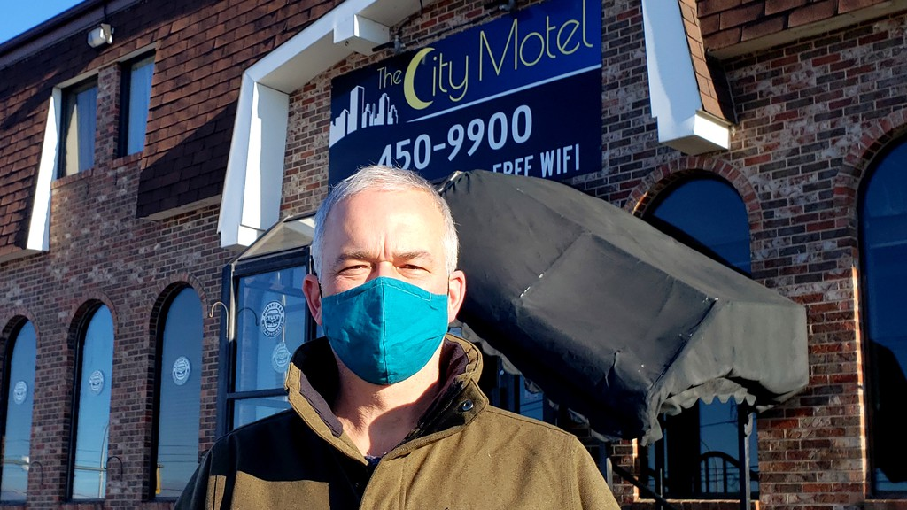 Jason LeJeune, project manager for the John Howard Society proposal to turn the City Motel into an affordable housing centre and  emergency shelter, seen here Wednesday in front of the motel, says the project will cost about $ 4 million and hopes to be open by March, 2021.