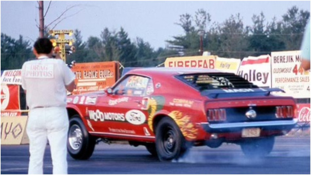 Matthew Walsh has restored this 1969 Mach 1 Mustang, which was once a popular ride on the Atlantic drag-racing circuit in the early 1970s. Above is a photo he was given of the car in action back in the day.