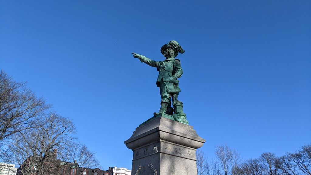 The Samuel de Champlain statue in Queen Square. Friday is shaping up to be mainly cloudy with a chance of flurries.