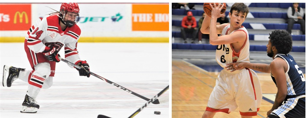 The COVID-19 pandemic has created challenges for student-athletes, including UNB hockey forward Katherine Chadwick, left, and basketball guard Rees Hasson, right. Both say it's important to talk at any time, and not just on Bell Let's Talk Day.