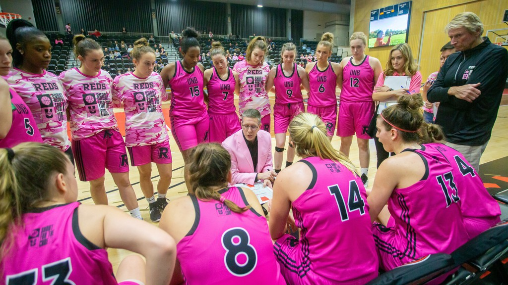 UNB women's basketball head coach Jeff Speedy talks to his players during the Reds' 2020 Shoot for the Cure game last Jan. 11 at the Richard J. Currie Center. The 14th edition of Shoot for the Cure will be held virtually this year, with a national goal to raise $44,000 for breast cancer research.