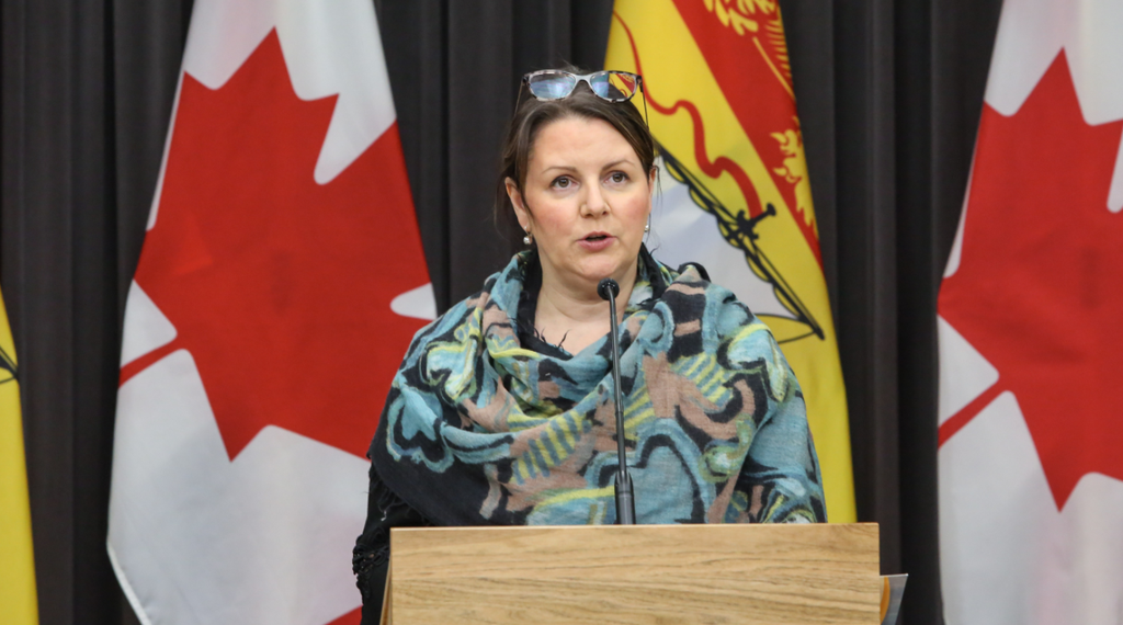 The province announced 15 new cases of COVID-19 Friday, four of which are in the Bathurst area health zone. Pictured is Dr. Jennifer Russell, chief medical officer of health, during a past press briefing.