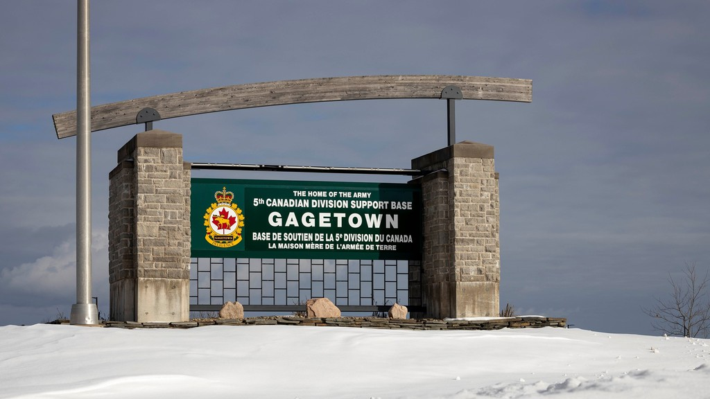 Four students from the University of New Brunswick have partnered with the Department of National Defence and the National Research Council to study how solar energy might be used at Base Gagetown. Pictured above, a photo of the base's entry sign.