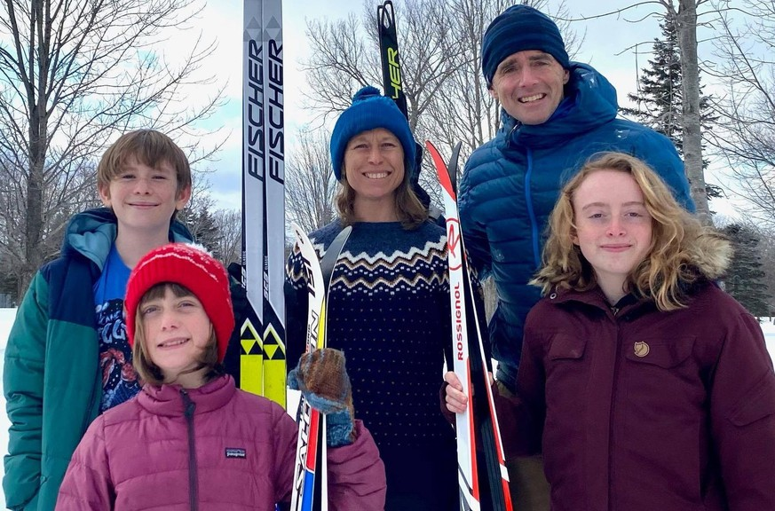 The Betts family captured the Morimanno Family Kilometre Cup, as part of the Wostawea Cross-Country Ski Club's first virtual loppet, by skiing a total of 179.5 kilometres. From left are Anna Betts, 10, and Ava Betts, 15; back row, Miles Betts, 13, mom Karen DeWolfe and dad Matt Betts.