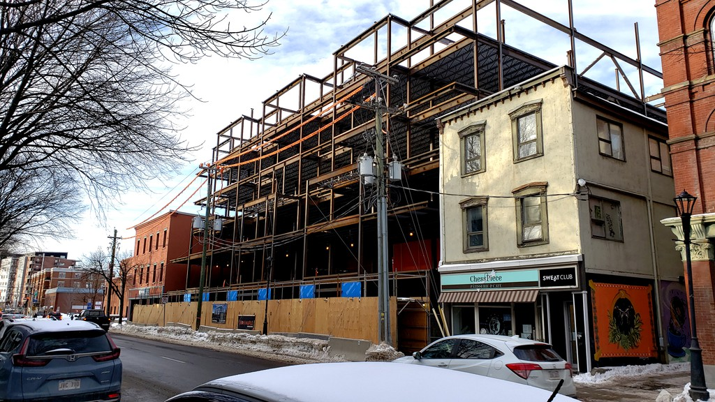 A new apartment building under construction on Queen Street by developer Earl Brewer.