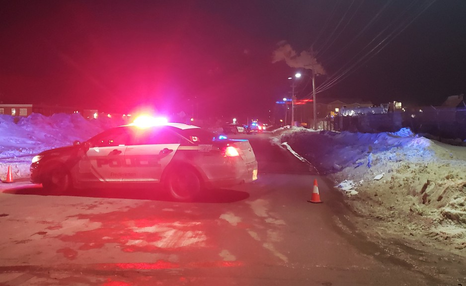 Fredericton police block off Priestman Street, near UNB, Friday night following a police chase that led to several collisions.