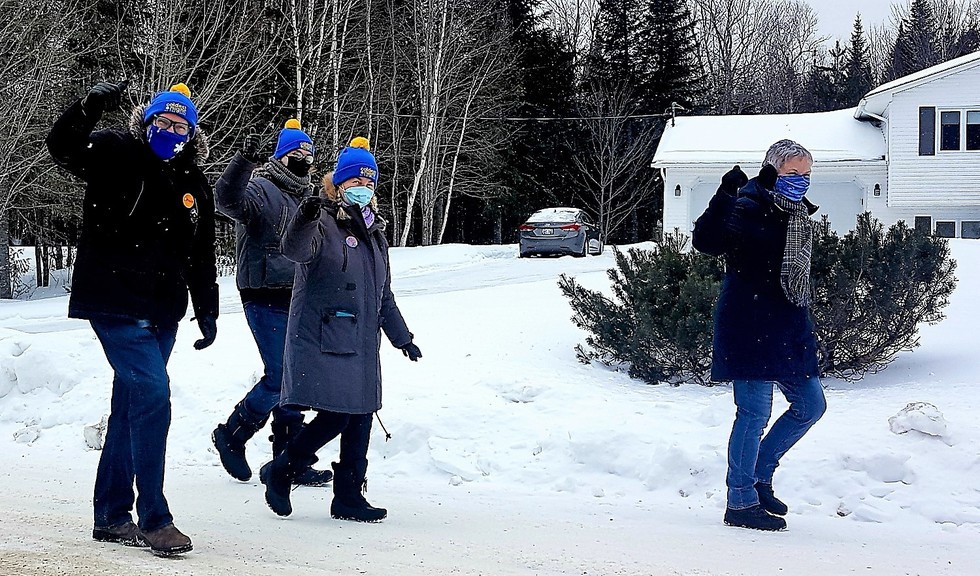 More than 170 people, including 28 teams, walked in their own areas and within their respective bubbles raising funds Saturday for the Coldest Night of the Year fundraiser in support of the city's hungry, homeless and hurting. From left are Tim Fox, Jacob Fox, Lynda Poljanowski and Ruth Carter, all members of the Freezing Foxes team.