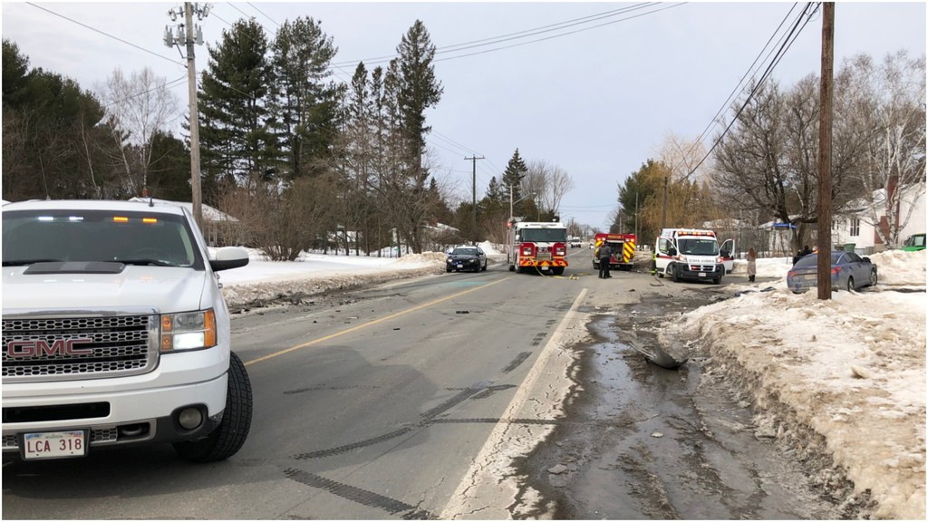 Two people were taken to hospital after a three-vehicle crash on Riverside Drive in Fredericton over the noon hour on Monday, according to the Fredericton Police Force.