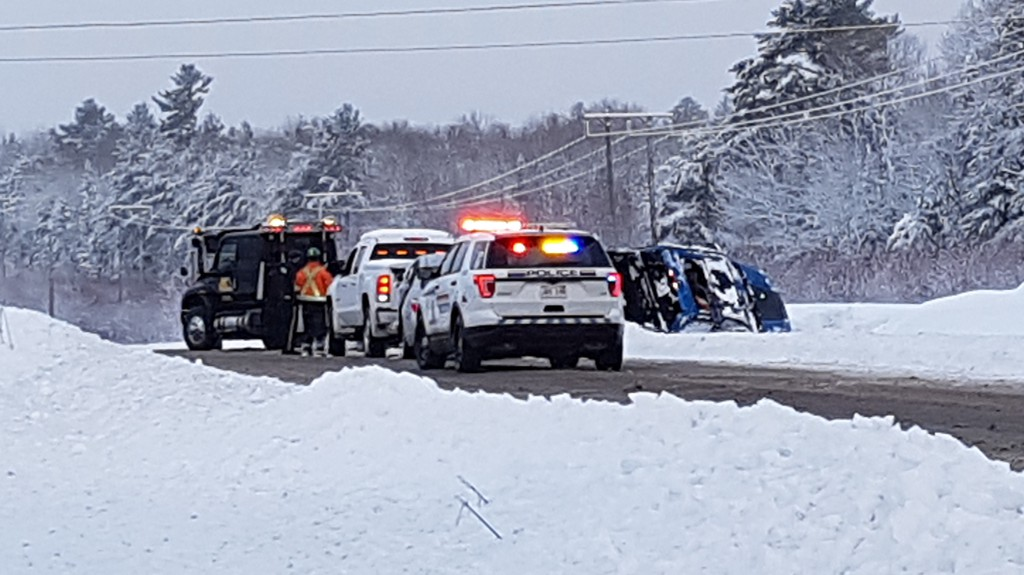 A two-vehicle crash stopped traffic along Route 10 for a short time Tuesday morning.