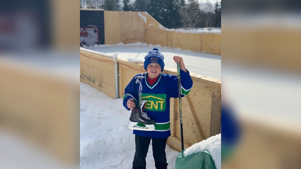 "Jaxon Fraser and some of his friends from the FYHA Atom Canucks will take on the Fredericton Red Wings in 3-on-3 shinny in early March. Fraser will host the Wings at ""Copper Coliseum"" his backyard rink."