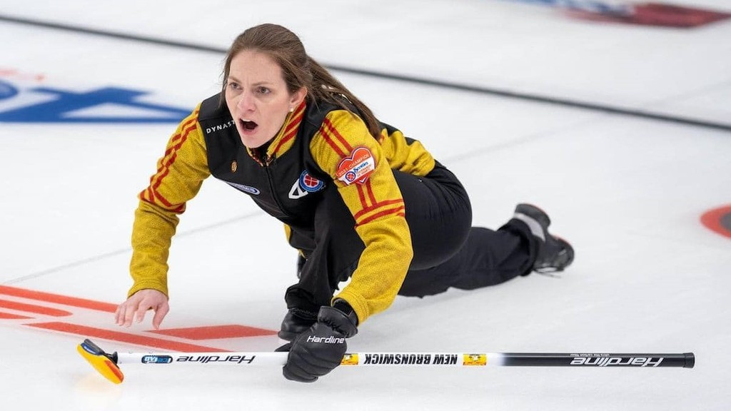 Team New Brunswick skip Melissa Adams at the 2021 Scotties Tournament of Hearts in Calgary.