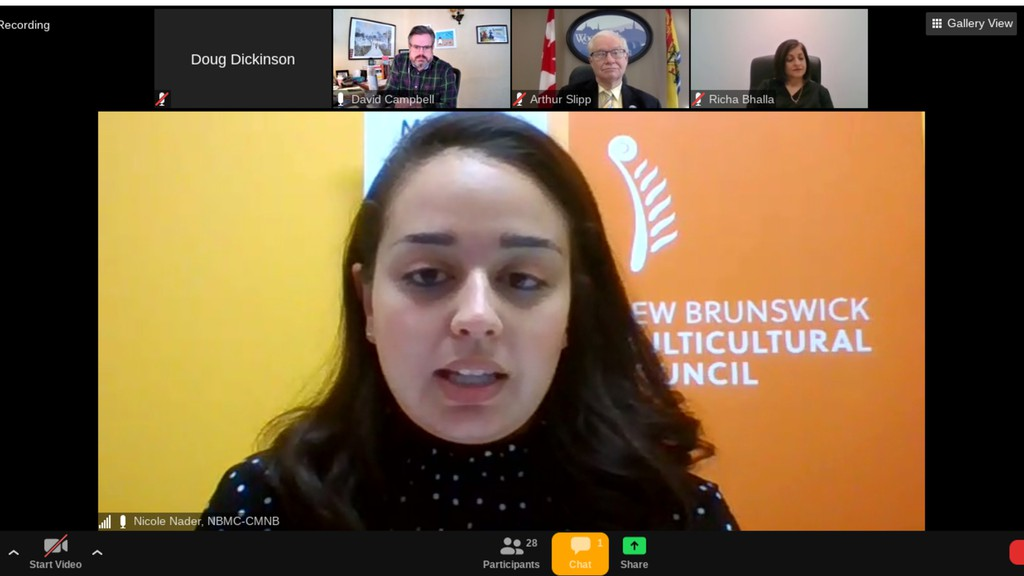 New Brunswick Multicultural Council Stakeholder Relations Lead Nicole Nader moderates the first of 15 virtual sessions in NBMC's New Conversations 2.0 Tour.