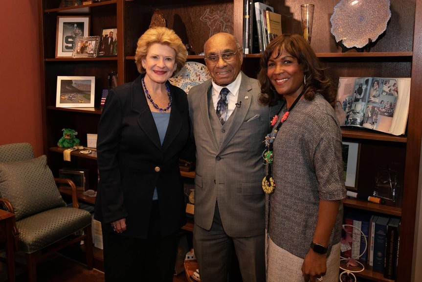 Willie O'Ree with Sen. Debbie Stabenow, left, and NHL executive Kim Davis. Senators Stabenow and Tim Scott have co-sponsored a bill to award O'Ree a Congressional Gold Medal.