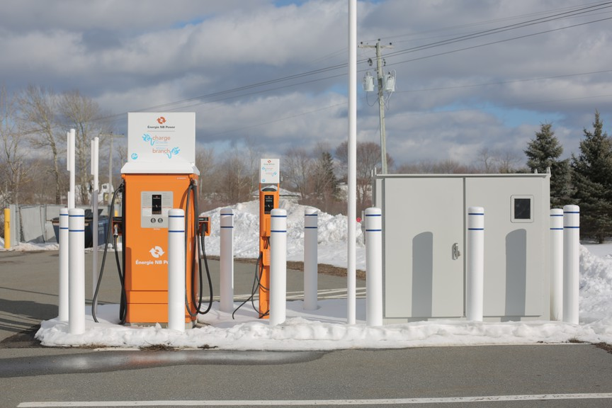 The Town of Sussex is currently looking for government funding to install two electric vehicle charging stations in the downtown area, similar to two others in Sussex run by the private sector. Pictured is the charger station behind the Shoppers Drug Mart on Main Street.