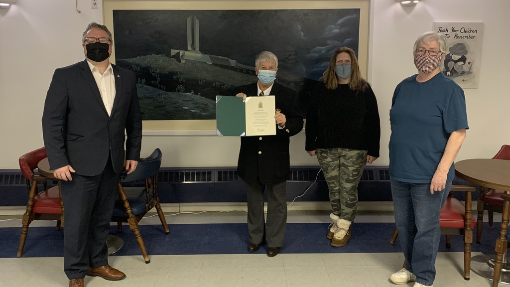 The Hartland Legion is presented with a certificate of recognition during a visit from Tobique-Mactaquac MP Richard Bragdon on Wednesday. From left are Bragdon; Hartland Legion President Carla Orser; Hartland Legion Treasurer Cheryl Broad; and Hartland Legion Secretary Gloria Foster.