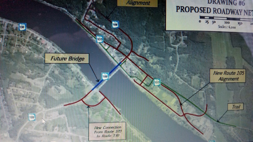 This image showing the potential location of a new highway bridge in Perth-Andover and road development at higher elevations was part of a virtual presentation on the village's draft municipal plan and zoning bylaw held on Feb. 22. The plan can be viewed online or at the village office and the public has 30 days to present any comments or objections in writing.