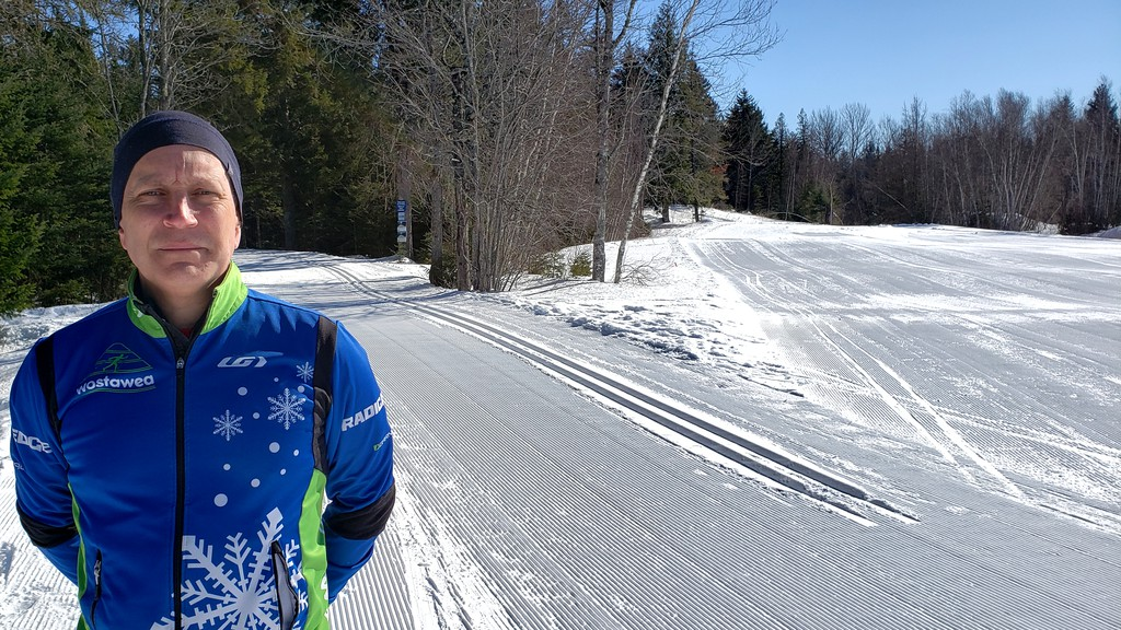 Don Wright, president of the Wostewea Cross Country Ski Club, stands next to a freshly groomed trail at the Fredericton Killarney Lake Park on Friday afternoon.