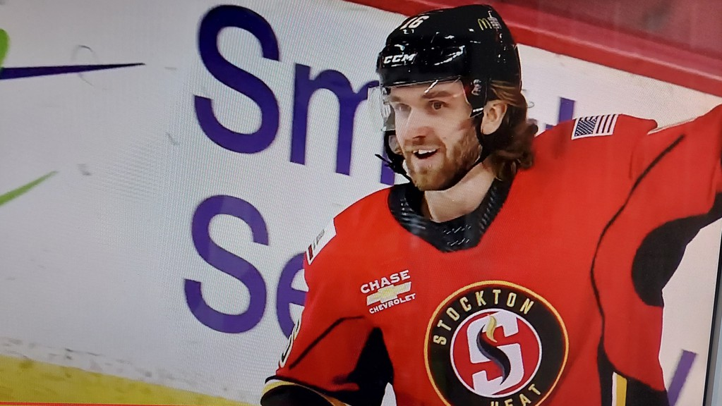 Former UNB Reds centre Mark Simpson, of Rothesay, celebrates after scoring his second goal for the Stockton Heat in Friday's 8-1 win over the Toronto Marlies in AHL action Friday in Calgary.