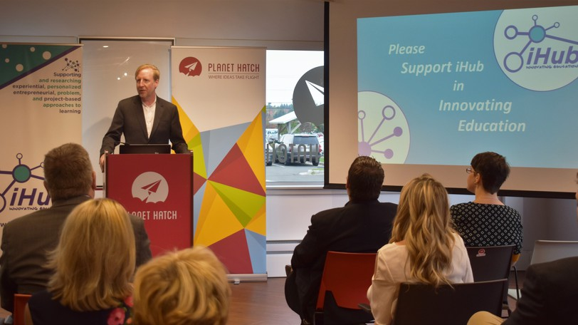 Education Minister Dominic Cardy speaks at iHub's launch event at Planet Hatch in Fredericton in 2019. The relationship between the education firm and government has soured, as iHub has filed a lawsuit over two departments' cancellation of their funding contracts with the company.