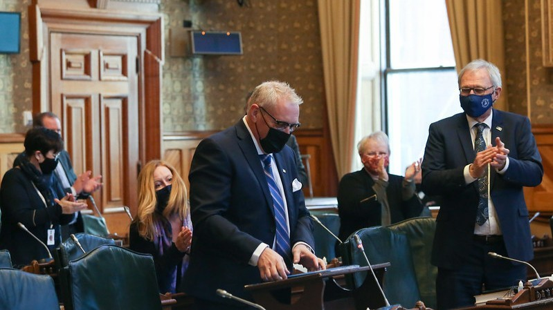 Finance Minister Ernie Steeves is pictured here delivering the 2021-2022 provincial budget, as Premier Blaine Higgs looks on.