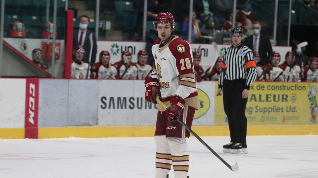 Titan defenceman Jaxon Bellamy netted two goals for the Acadie-Bathurst Titan in Sunday's game against the Moncton Wildcats at the K.C. Irving Regional Centre. He's pictured during a past game.