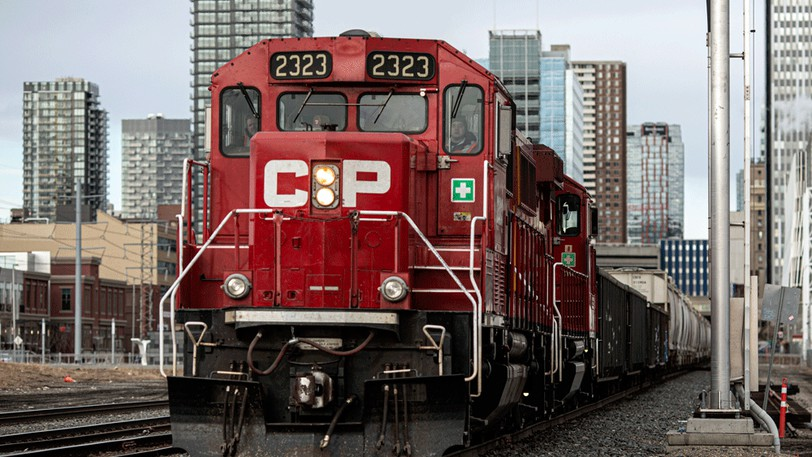 A Canadian Pacific train in Calgary.
