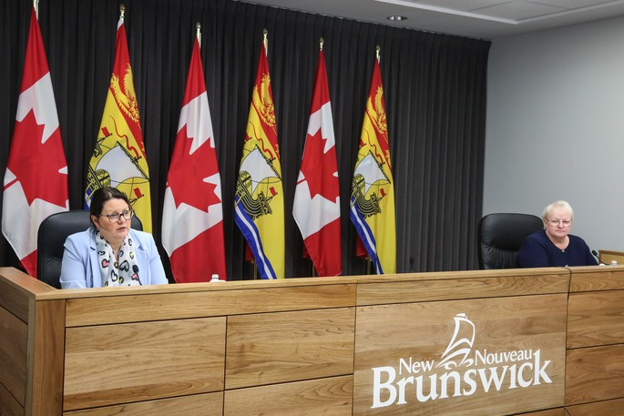Dr. Jennifer Russell, New Brunswick's chief medical health officer, and Health Minister Dorothy Shephard deliver a COVID-19 briefing in this file photo.