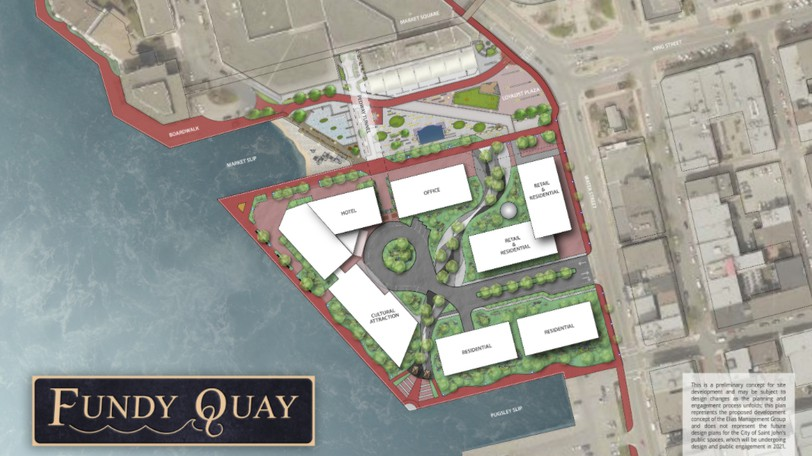 The public will have a chance to provide feedback on concept designs for the public spaces near the proposed Fundy Quay development on Monday.