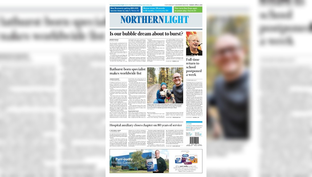 The front page of the April 6 edition of The Northern Light.
