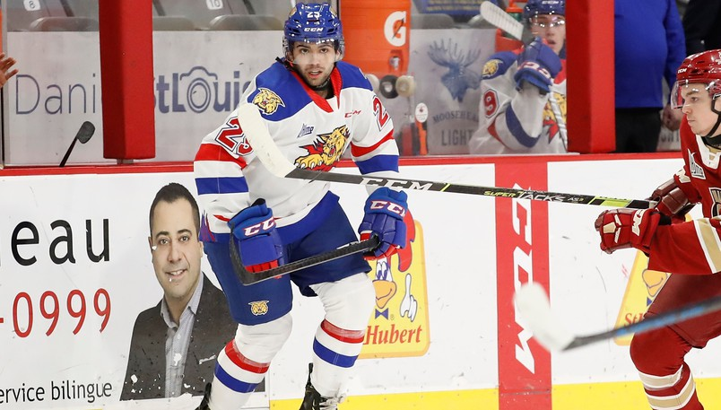 Forward Tristan Sanchez of Moncton is among the players participating in the Moncton Wildcats' QMJHL rookie camp, which got underway on Monday.