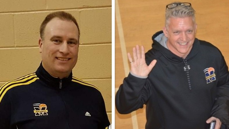 Jim Watters, left, and Dennis Lirette of Miramichi Hoops are among the basketball volunteers and organizations being recognized by Basketball New Brunswick for stepping up for young athletes during the COVID-19 pandemic.