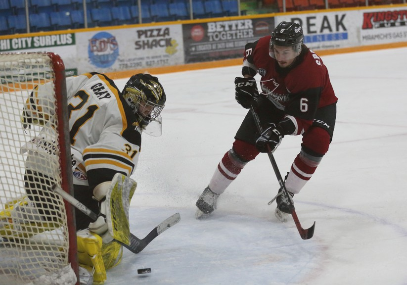 Miramichi Timberwolves defenceman Jordan Spadafore, 6, will suit up for the Nipissing University Lakers in North Bay, Ont., for the 2021-22 U Sports season.