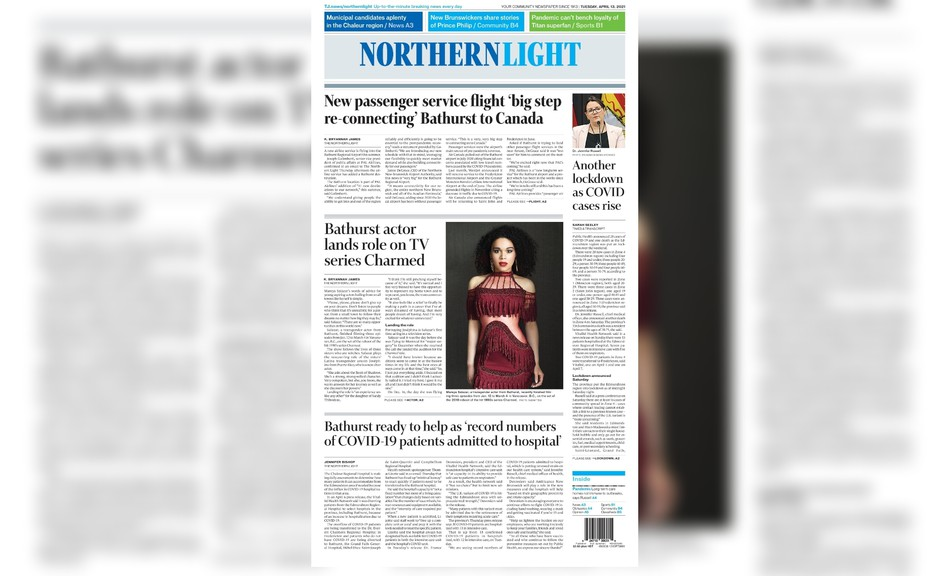Pictured is the front page of the April 13 edition of The Northern Light.