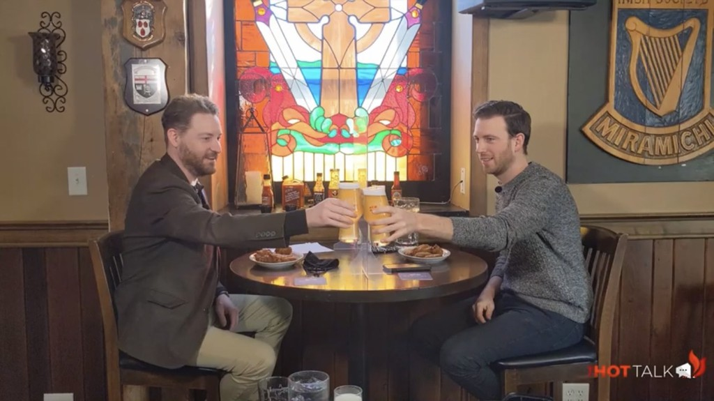 The Hot Talk host Jimmy MacKinley with Miramichi Mayor Adam Lordon. The first season of shows is available online, which features guests answering questions as they consume wings with progressively hotter sauces.