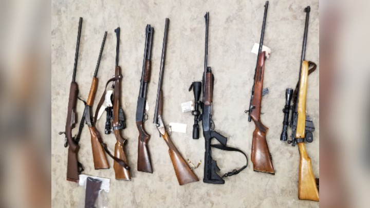 RCMP is seeking the owners of eight firearms and other stolen items recovered after police searched three properties in Metepenagiag First Nation and Cassilis.