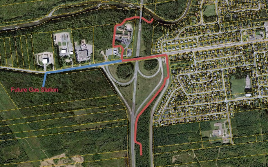 Pictured in red is the newly proposed ATV route from the Atlantic Host hotel down Vanier Boulevard and up Ryan Road.