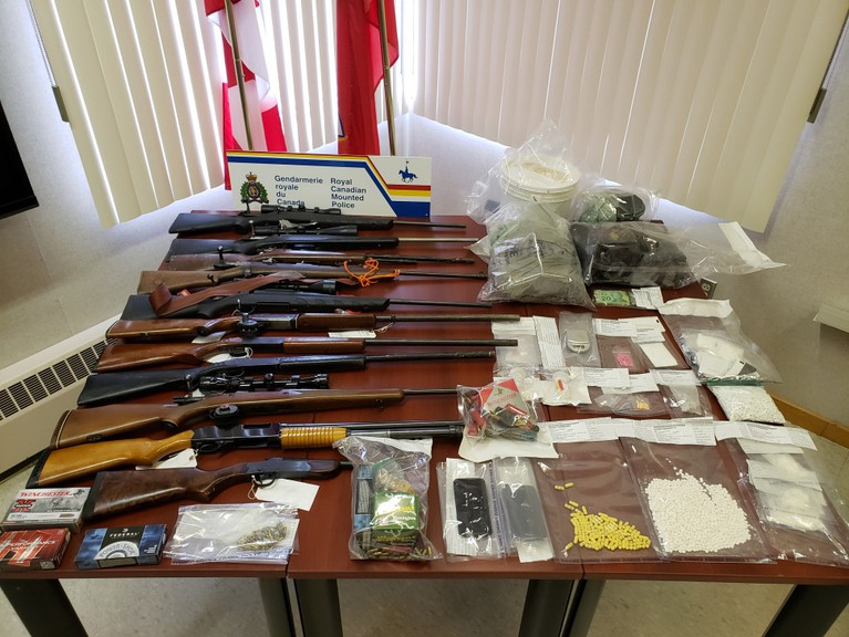 On April 14, New Brunswick RCMP searched homes in Allardville and onRoute 160 in Saint-Sauveurwhere they seized drugs believed tobe cocaine crystal methamphetamine, hydromorphone pills and drug paraphernalia. Pictured is some of what was seized during the police operation.