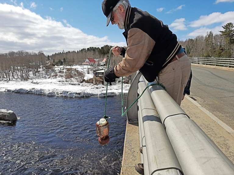 Acid monitoring in the Miramichi River watershed, similar to this test being carried out at Bloomfield Ridge, is among the Miramichi River Environmental Assessment Committee projects being funded this year with $85,000 from the province's Environmental Trust Fund.