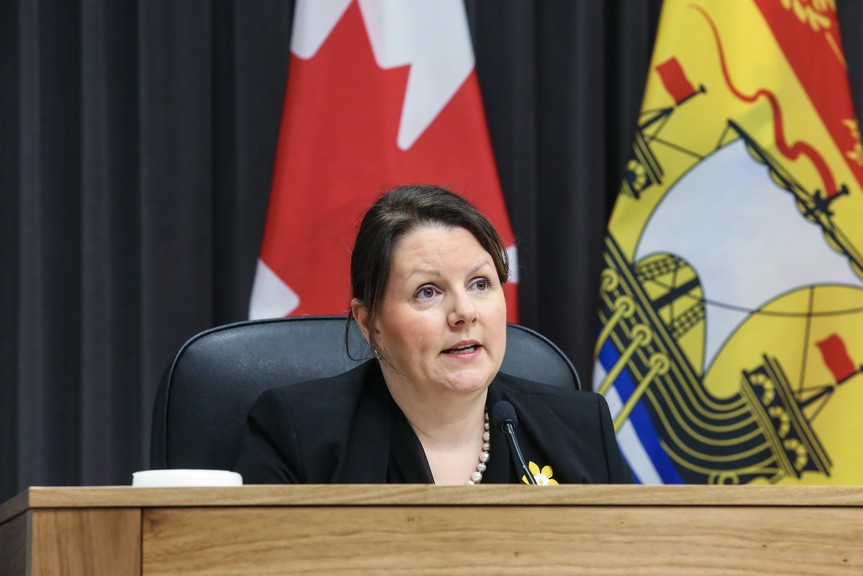 Dr. Jennifer Russell, New Brunswick chief medical officer of health, speaks at an April 8 press conference. Public Health has issued more exposure notices for the Nackawic area.