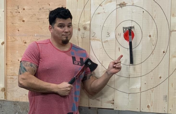 Eel River Bar's Mitch Harquail has an axe throwing set up in his gym on Sunset Drive.