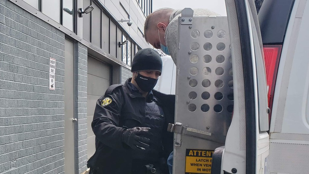 Charles Maltais, shown arriving at the Campbellton courthouse on April 23, has been sentenced to 13 years in prison after pleading guilty to manslaughter and arson in the Oct. 22, 2016 death of his 71-year-old mother, Lucille Maltais.