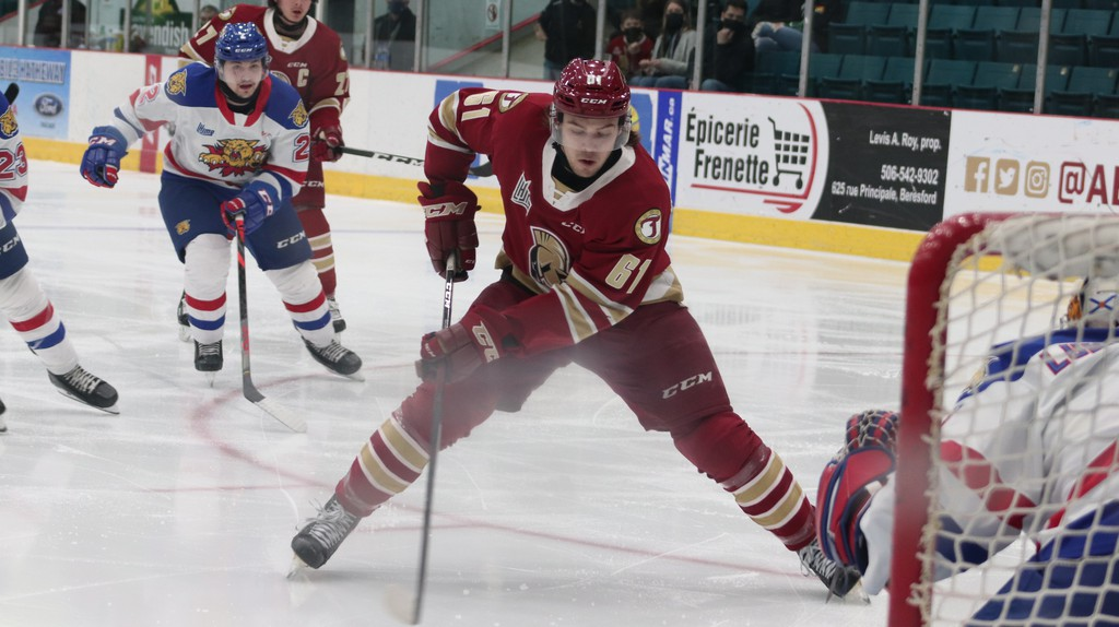 The Acadie-Bathurst Titan's Bennett MacArthur makes a shot on net during a game against the Saint John Sea Dogs at the K.C. Irving Regional Centre Friday night. MacArthur netted two goals for the team.
