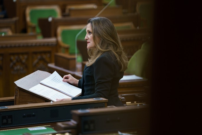 Finance Minister Chrystia Freeland is pictured tabling the federal budget in the House of Commons. Ottawa's increase to the OAS should be available to all seniors, writes one letter writer.