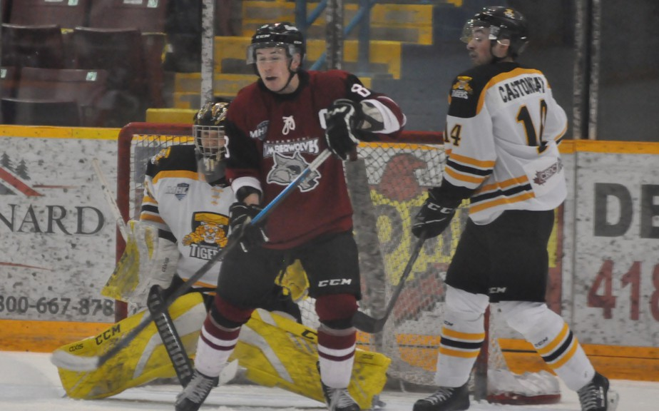 Campbellton Junior A Tigers veteran goaltender Tristan Gray picked up his sixth career shutout, all in the last 15 games, on Friday when the Tigers beat the Miramichi Timberwolves 5-0 at home in the first playoff game at the Civic Centre in more than two years..