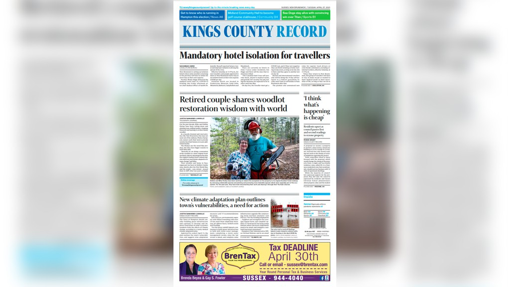 The front page for the April 27 Kings County Record.