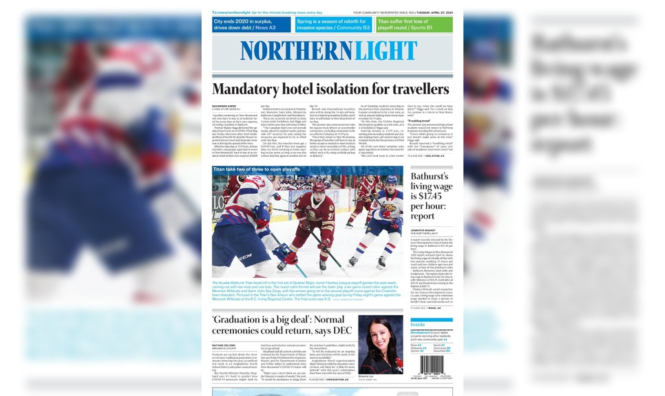 Pictured is the front page of the April 27 edition of The Northern Light.